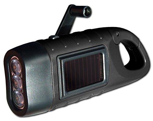 PowerPlus Seepferdchen Dynamo Solar 3LED Taschenlampe, Stahl, schwarz