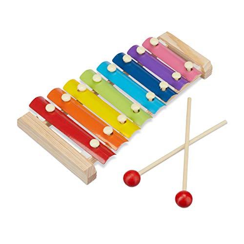 Relaxdays Holz Xylophon für Kinder, 2 Schlägel, angenehmer Klang, freundliche Optik, Metall Klangplatten, natur/bunt