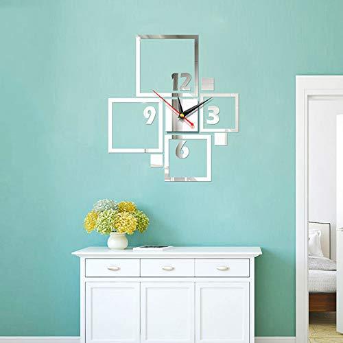 Reloj decorativo 3D acrílico creativo, 3D de 23.6 x 19.6 pulgadas, espejo digital acrílico adhesivo de pared, reloj de...
