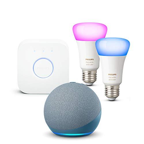 Nouvel Echo Dot (4e génération), Bleu-gris + Philips Hue Kit de démarrage 2 Ampoules Color (E27), Fonctionne avec Alexa