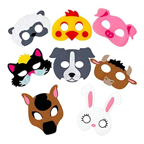 Toyvian 8 Stück Tiergesichtsmuster Masken Neuheit Filz Tuch Tiermasken Partei Begünstigt Kinder Maskerade Maske