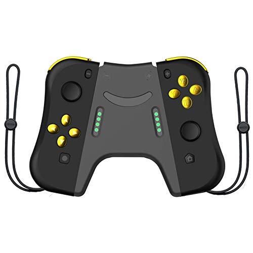 DerLin Joy Con Controller (L/R) Joy-Con Controller Joy Con Pair Wireless Controller Ersatz für Nintendo Switch (schwarz/gold mit Griff)