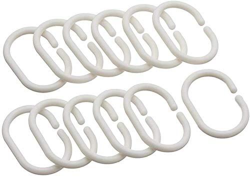 Cuco's Nest Set 12 Ringe für Duschvorhang, Kunststoff, Weiß, 6 x 4 cm