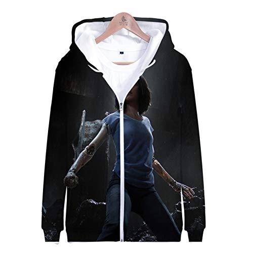 PLMNK Alita Battle Angel 3D Dibujos Animados animación Cremallera con Capucha suéter cómodo suéter Transpirable Hombres y Mujeres Moda Casual Sudadera 3XL
