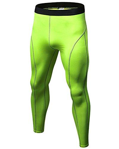 DianShao Hombre Aptitud Jogging Mallas Pantalones Secado Rápido Fitness Running Compresión Fluorescente Verde S