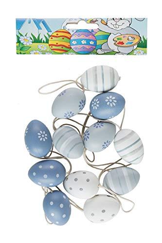 Unbekannt III Kunststoffeier 12 Stück, ca. 4 cm groß, Sortiert, in blau-grau Tönen, bunt