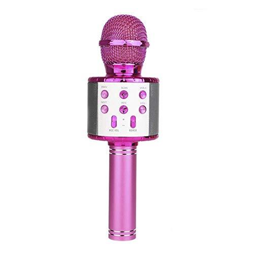 Micrófono de Karaoke Bluetooth inalámbrico, luz de Mano de Karaoke de Mano portátil de 3 en 1 Luz LED multifunción, para teléfonos móviles, computadoras de Escritorio, TV, etc, 4