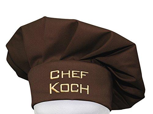 KringsFashion + CG Workwear Kochmütze, Chefkoch, Farbe Toffee, hochwertig Bestickt vom Stickerei-Fachbetrieb; Profimütze, Qualitäts-Arbeitskleidung, Made in Germany