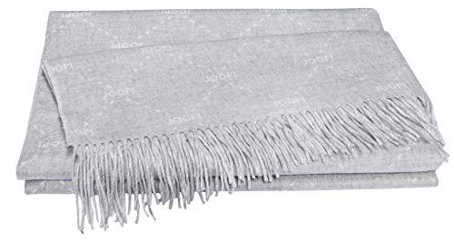 Joop!® Fine-Signature Fransen-Plaid Silber I flauschig-weiche Kuscheldecke mit Wendeoptik I leichte Wohndecke in 130x170 cm | Öko-Tex Standard 100 I hochwertige Fransen-Decke mit Allover-Dessin