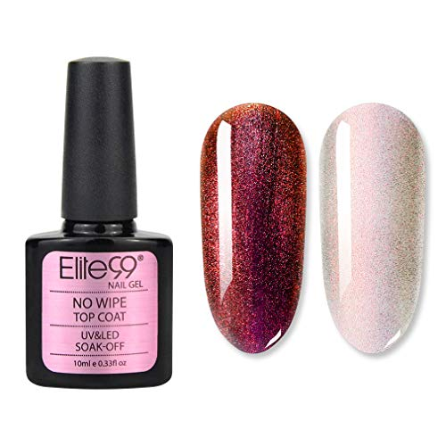 Elite99 Chamäleon Serie NO WIPE Überlack, Chamäleon Nagel Design Gellack UV Gel Farbgel, Nagelgel LED Soak Off Gel-Lack Elite99 Chameleon Effect NO WIPE UV Top Coat 10ml 38002