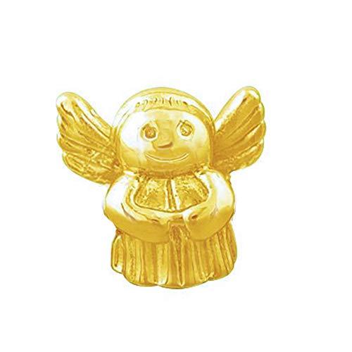 Andante-Stones 14K Gold Bead Charm ** Schutzengel ** Engel - Element Kugel für European Beads Modul Armband + Organzasäckchen