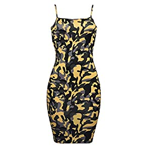Camouflage Sexy Bodycon Clubwear Mini Dress for Women Party Club Night Spaghetti Strap Plus Size