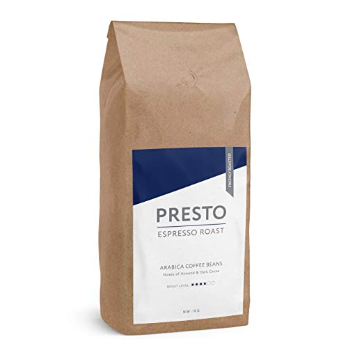 Presto Coffee Beans - Espresso Coffee - Medium Roast Whole Coffee Beans 1KG - Mid/Dark Roast Arabica - Great Taste Award Winner 2019