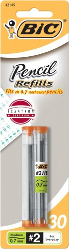 BIC Pencil Lead Refills, Medium Point (0.7mm), 30ct (L730P1),Black