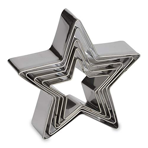 Antallcky Star Cookie Cutter Set-5 pcs Stainless Steel Five-pointed Star Biscuit Molds Fondant Cake Cookie Cutter Set Pastry Mold-for 3d Christmas Tree/Linzer Cookies