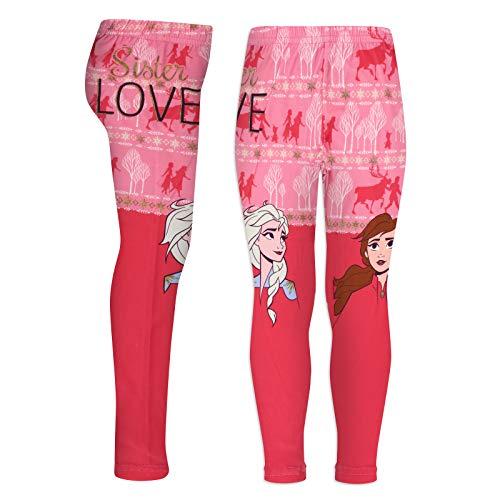 Disney Die Eiskönigin 2 Leggings aus elastischem Stoff – Full Print – Elsa und Anna – Mädchen – 3/8 Jahre, Pink 98/104 cm(4 Jahre)
