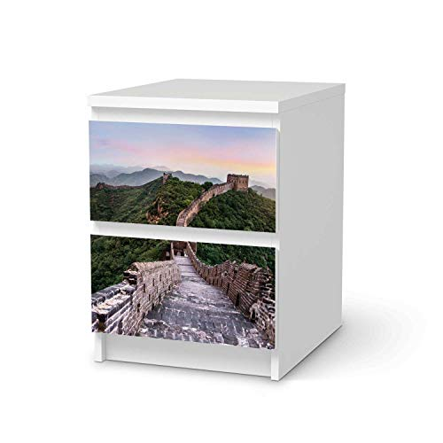 Wandtattoo Möbel passend für IKEA Malm Kommode 2 Schubladen I Möbelaufkleber - Möbel-Tattoo Sticker Aufkleber I Wohnen und Dekorieren für Wohnzimmer und Schlafzimmer - Design: The Great Wall