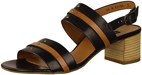Paul Green 7426-03 Black Leather Womens Slingback Heeled Sandals 7.5