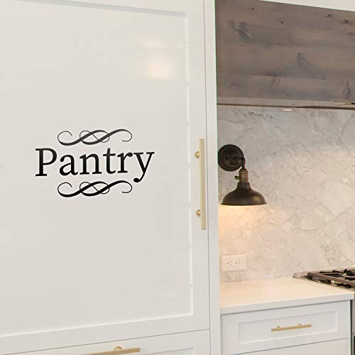 Vinyl Wall Art Decal - Pantry - 5' x 9' - Cursive Lettering Food Cupboard Label Sticker For Home Kitchen Office kitchenette Restaurant Coffee Shop Store Decor