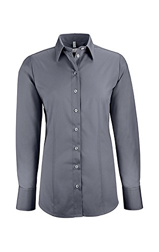 GREIFF Damen-Bluse Basic, Regular Fit, Stretch, Easy-Care, 6515, Farbe: Anthrazit, Größe: 40