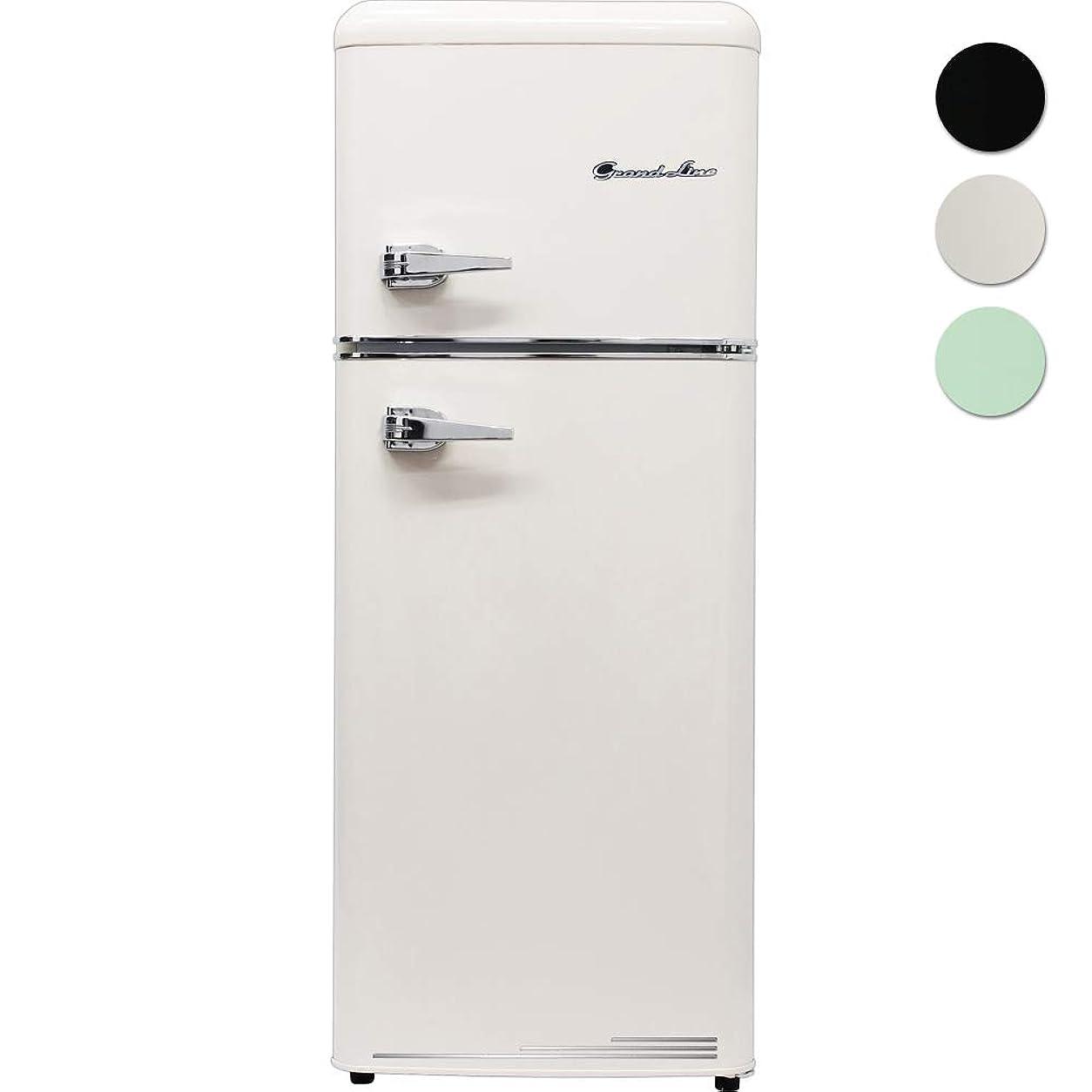 Grand-Line 2ドア レトロ冷凍/冷蔵庫 115L レトロホワイト ARE-115LW