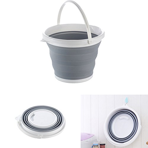Arswin Collapsible Bucket, 10L Silicone Folding Retractable Bucket for Fishing Hiking Camping BBQ Washing, Utility Storage Container for Home and Outdoor, Grey