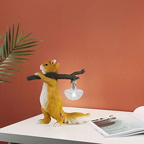Kreative Nachttischlampe, Moderne Eichhörnchen Tischlampe, einzigartiges Kunststoffdesign, mit Stecker, geeignet für Büro, Kinderzimmer, Wohnheimleselampe