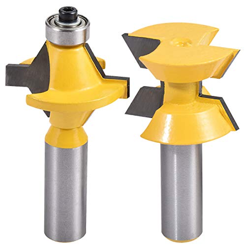 KATUR 120 Degree Woodworking Groove Chisel Cutter Tool, Matched Tongue and Groove Router Bit Set with Edge Banding, 2Pcs 1/2 Inch Shank