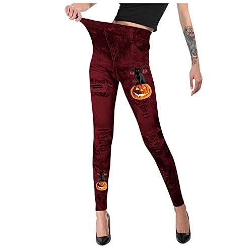 Leggings para mujer, de algodón, para Halloween, estampados, deportivos, de cintura alta, elásticos, de algodón, para yoga, para mujer, 3 rojo, Talla única