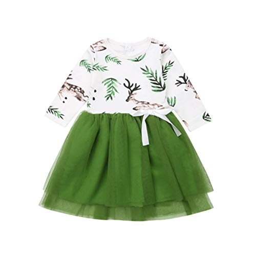 Little Girls Baby Princess Deer Dress Long Sleeve Tutu Tulle Dress for Party or Birthday (Green, 2-3T)