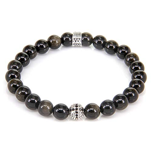 CHIY-GBC Obsidian and Cross Beads Hieroglyphs Ornamentation Elastic Bracelet, Rebel Heart Style Jewelry for Men 17 cm