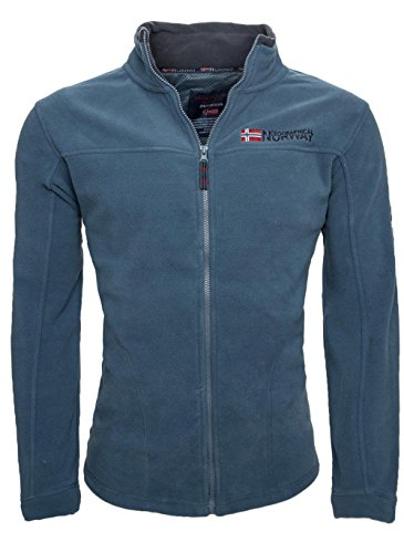 Geographical Norway warme Herren Fleece Winter Übergangs Jacke Outdoor Sweat [GeNo-8-Petrolblau-Gr.L]