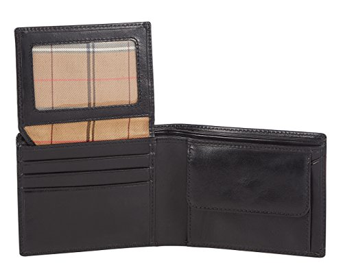 Visconti portafoglio di pelle da uomo a piegatura tripla Monza Italian Leather Wallet (MZ4): (nero (black))