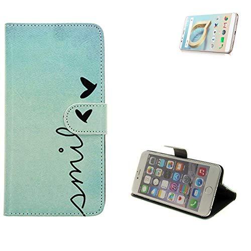 K-S-Trade® Schutzhülle Für Alcatel A7 XL Hülle Wallet Case Flip Cover Tasche Bookstyle Etui Handyhülle ''Smile'' Türkis Standfunktion Kameraschutz (1Stk)