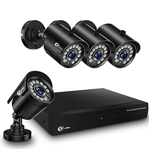 XVIM No HDD 1080P Wired Home Security Camera System 4CH CCTV DVR Recorder 4pcs Full HD 1080P Indoor Outdoor Waterproof Surveillance Cameras Night Vision, Easy Remote Access (2MP 4CH+4pcs 2MP Cameras)