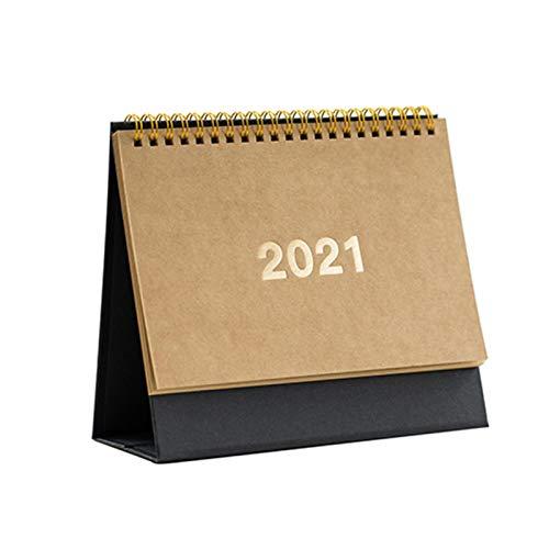 Teckey Calendario de Escritorio 2021, Calendario de Escritorio de Oficina en casa con Tapa de Escritorio, Calendario Retro Simple y Ligero, Calendario de Escritorio con Plan de memorando