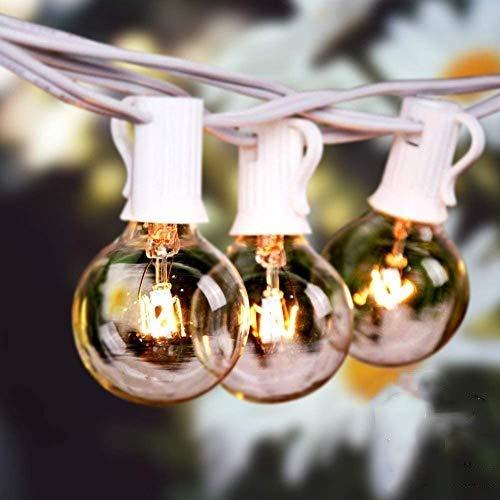 Catene luminose Esterno,G40 50FT 15M 27 lampadine luci all aperto Della Corda del Giardino del Patio, 7W Bianco caldo 2200K IP44 Luci da Luci Decorative del Corda,Luci di Natale del