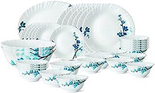 Larah by Borosil Mimosa Glass Dinnerware Set, 33-Pieces, White