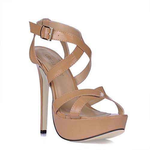 CHMILE Chau-Zapatos para Mujer-Sandalias de Tacon Alto de Aguja-Talón Delgado-Sexy-Novia o Dama-Boda-Nupcial-Vestido de Fiesta-Correa de Tobillo-Plataforma 3cm