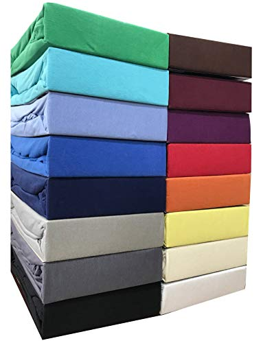 Leonado Vicent - Classic Spannbettlaken Bettlaken 100% Baumwolle Jersey Spannbetttuch in vielen Farben & Größen MARKENQUALITÄT ÖKO TEX Standard 100 (140 x 200 cm - 160 x 200 cm, Grau)