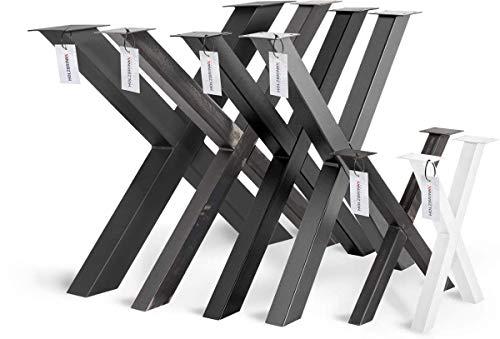 HOLZBRINK Tischkufen X-Form aus Vierkantprofilen 40x40 mm, x-förmiges Tischgestell 30x43 cm, Tiefschwarz, HLT-03-F-AA-9005