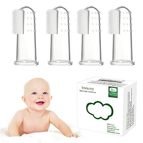 Zahnbürsten Zahnpflege , Tinabless Baby Kindermundpflege Weiche Fingerzahnbürste inkl. Aufbewahrungsbox für Zähneputzen und Zahnfleischmassage - 4 Stück