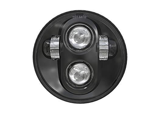 TRUCKMALL 5-3/4'' 5.75 inch LED Headlight for Harley Davidson Dyna Street Bob Super Wide Glide Low Rider Night Rod Train Softail Deuce Custom Sportster Iron 883 (Black)