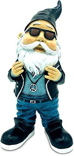 SEWAS Gartenzwerg Rocker Hipster mit Peace Kette, handbemalt und wetterfest aus hochwertigem Kunstharz, Hiphop Rap Figur