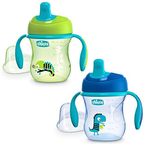 Chicco Vaso Antiderrame para Bebés 6+ Meses, Vaso de Aprendizaje Antigoteo con Boquilla Ergonómica Semirrígida, Válvula Antigoteo y Asas Desmontables, 200 ml - Azul