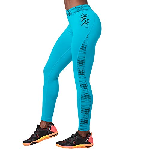 STRONG by Zumba Damen Women\'s High Waisted Shaping Athletic Ankle Workout Leggings Hosen, No Big Teal, XX-Large