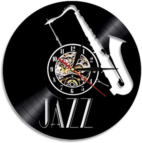 YDZYXY Regalo Reloj de Pared de Vinilo Reloj de Pared Decoración de Pared de Jazz Retro Habitación Familiar Art Deco Regalo 12 Pulgadas -12 pulgadasUGT487