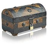 Brynnberg - Caja de Madera Cofre del Tesoro con candado Pirata de Estilo Vintage, Hecha a Mano, Diseño Retro 20x11x11cm