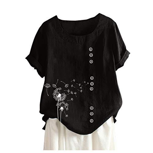 XWANG Tops - Blusa de lino para mujer, camisa larga, manga corta, talla grande, estampado de diente de león, cuello redondo, camiseta de lino, blusa informal 2 negros. XL