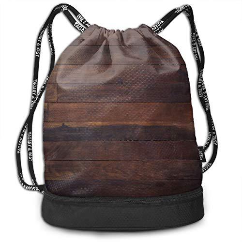 DPASIi Mochilas con cordón, bolsas de día, envejecidas, madera de roble oscuro, tablones de madera de roble envejecido, imagen de suelo, carpintería de vida campestre y cierre de cuerda ajustable